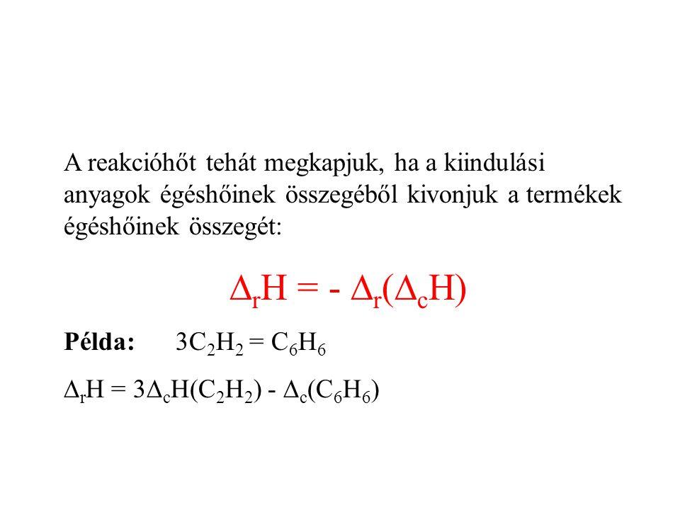A reakcióhőt tehát megkapjuk, ha a kiindulási anyagok égéshőinek összegéből kivonjuk a termékek égéshőinek összegét: