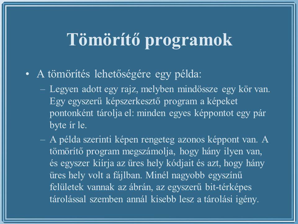 Tömörítő programok A tömörítés lehetőségére egy példa: