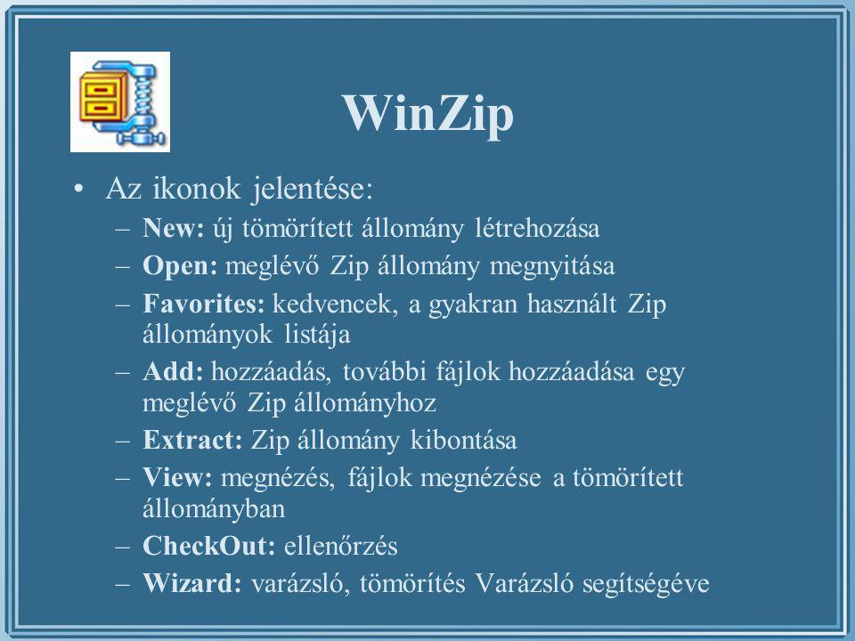 WinZip Az ikonok jelentése: New: új tömörített állomány létrehozása