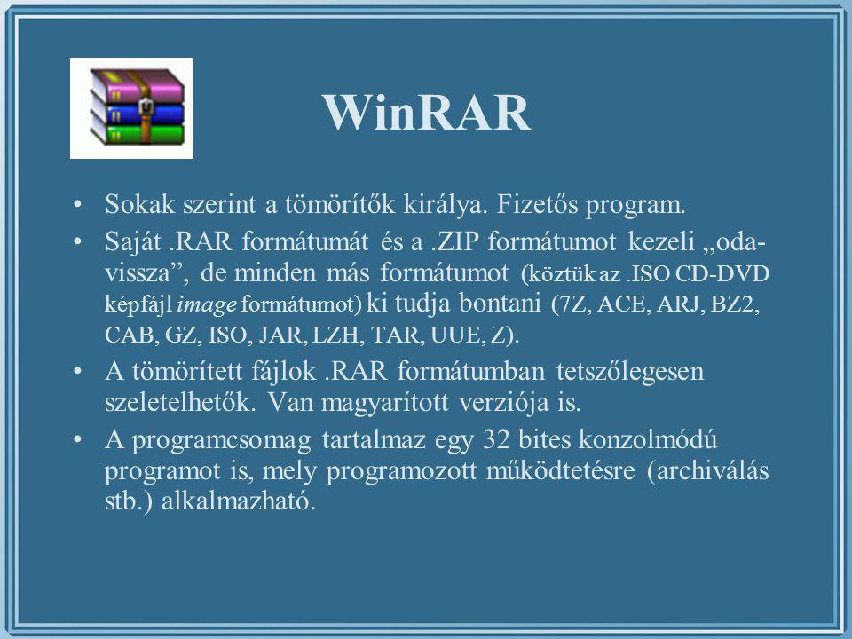 WinRAR Sokak szerint a tömörítők királya. Fizetős program.