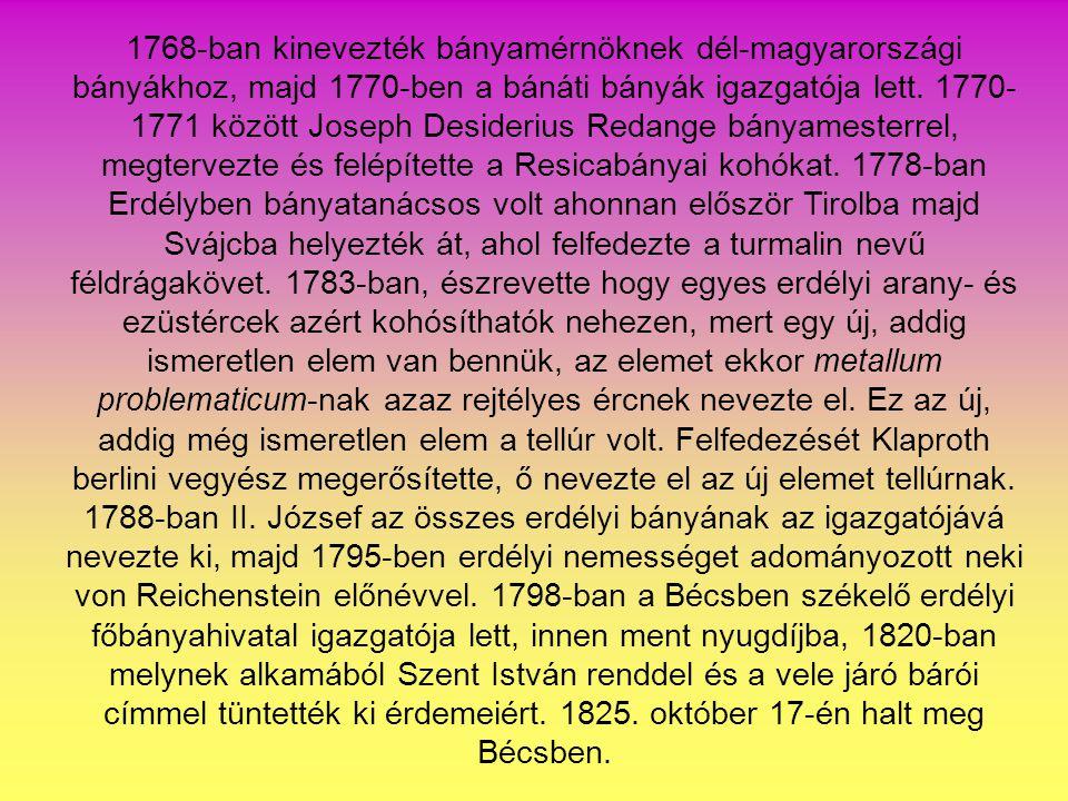 1768-ban kinevezték bányamérnöknek dél-magyarországi bányákhoz, majd 1770-ben a bánáti bányák igazgatója lett.