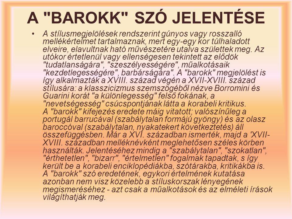 A BAROKK SZÓ JELENTÉSE