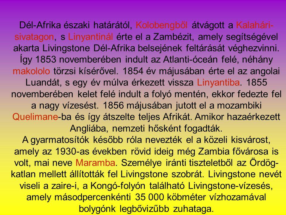 Dél-Afrika északi határától, Kolobengből átvágott a Kalahári-sivatagon, s Linyantinál érte el a Zambézit, amely segítségével akarta Livingstone Dél-Afrika belsejének feltárását véghezvinni. Így 1853 novemberében indult az Atlanti-óceán felé, néhány makololo törzsi kísérővel. 1854 év májusában érte el az angolai Luandát, s egy év múlva érkezett vissza Linyantiba. 1855 novemberében kelet felé indult a folyó mentén, ekkor fedezte fel a nagy vízesést. 1856 májusában jutott el a mozambiki Quelimane-ba és így átszelte teljes Afrikát. Amikor hazaérkezett Angliába, nemzeti hősként fogadták.