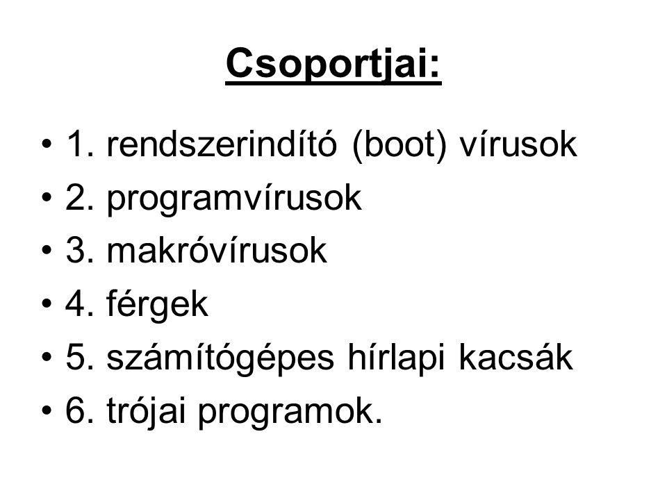 Csoportjai: 1. rendszerindító (boot) vírusok 2. programvírusok