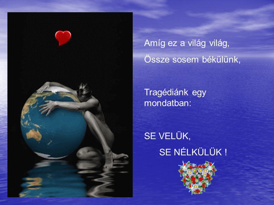 Amíg ez a világ világ, Össze sosem békülünk, Tragédiánk egy mondatban: SE VELÜK, SE NÉLKÜLÜK !