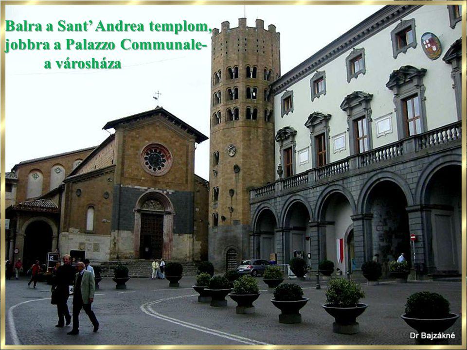 Balra a Sant' Andrea templom, jobbra a Palazzo Communale- a városháza