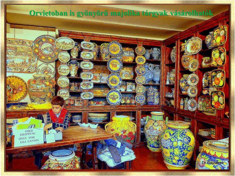 Orvietoban is gyönyörű majolika tárgyak vásárolhatók