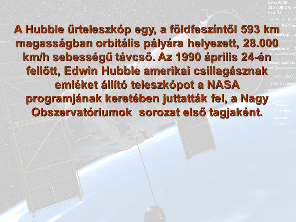 A Hubble űrteleszkóp egy, a földfeszíntől 593 km magasságban orbitális pályára helyezett, 28.000 km/h sebességű távcső.