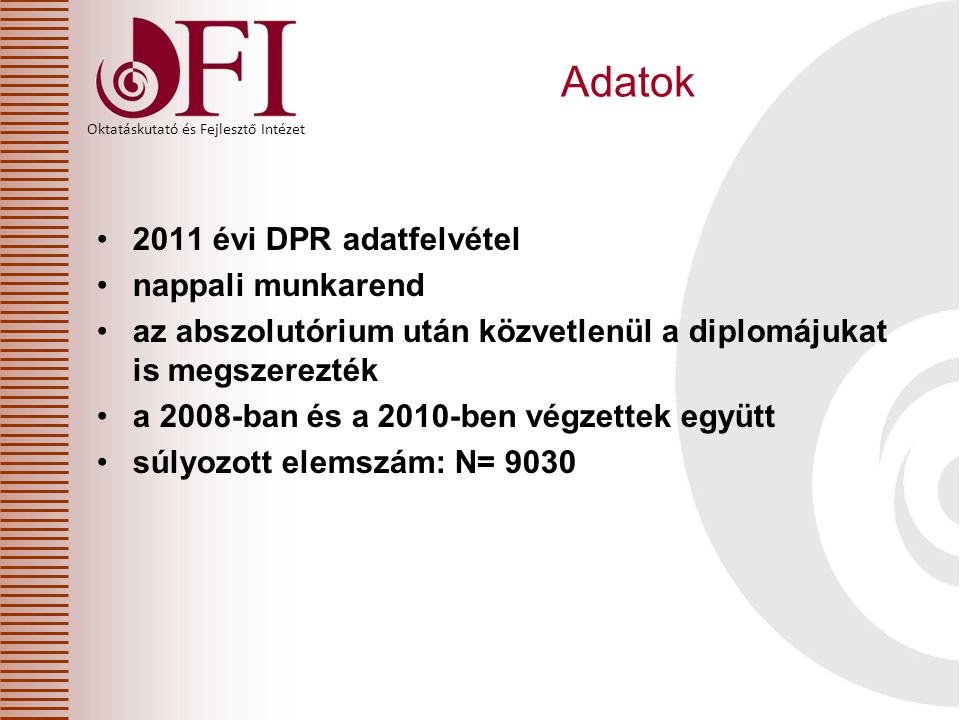 Adatok 2011 évi DPR adatfelvétel nappali munkarend