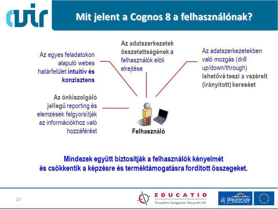 Mit jelent a Cognos 8 a felhasználónak