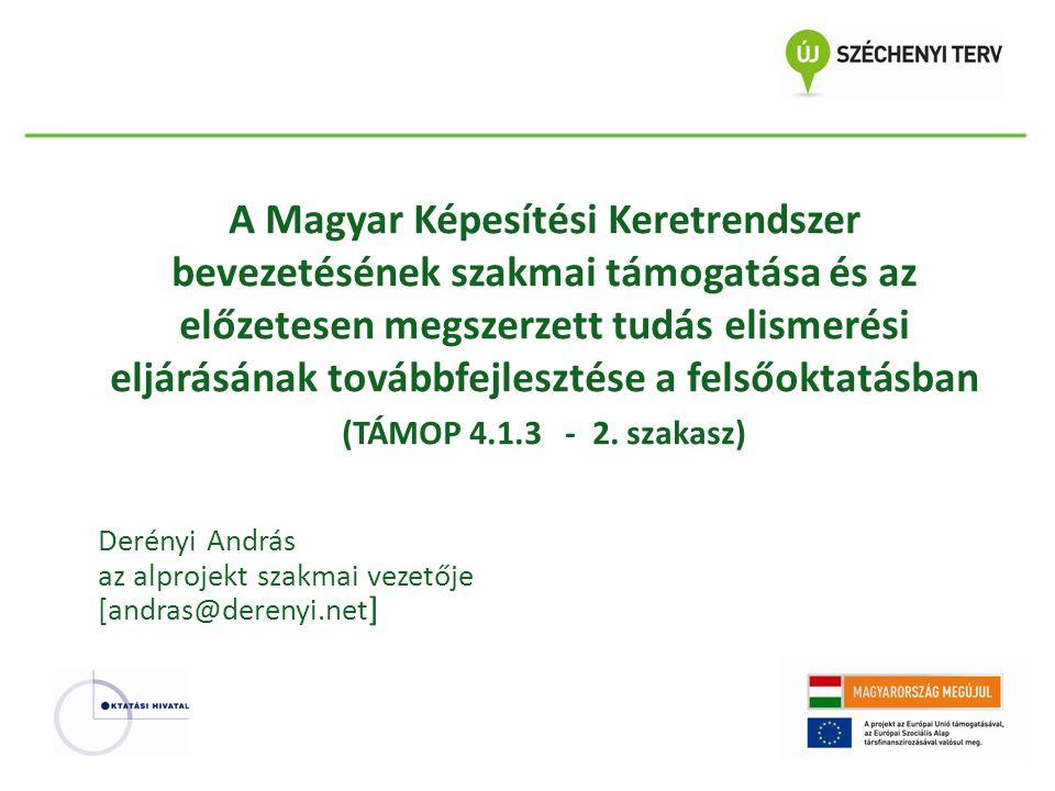 A Magyar Képesítési Keretrendszer bevezetésének szakmai támogatása és az előzetesen megszerzett tudás elismerési eljárásának továbbfejlesztése a felsőoktatásban