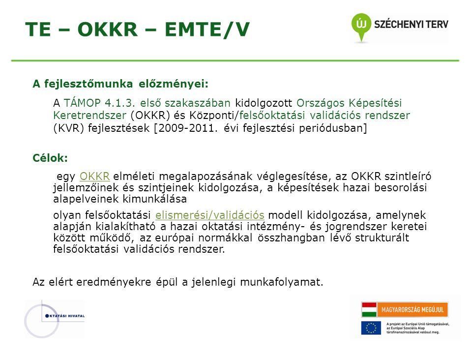 TE – OKKR – EMTE/V A fejlesztőmunka előzményei: