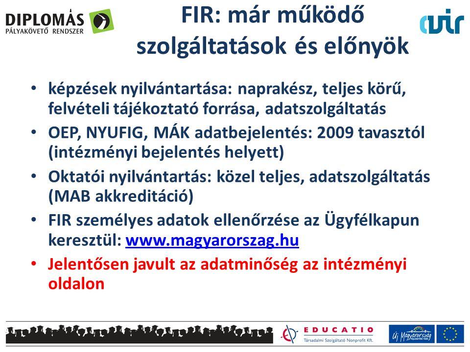 FIR: már működő szolgáltatások és előnyök