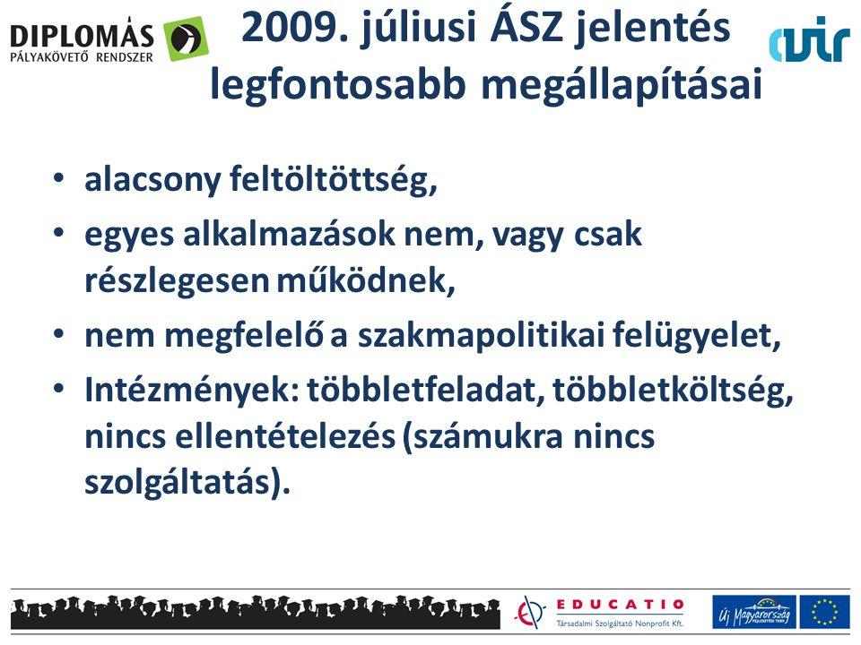 2009. júliusi ÁSZ jelentés legfontosabb megállapításai