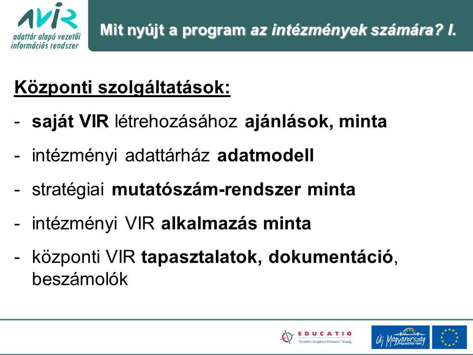 Központi szolgáltatások: saját VIR létrehozásához ajánlások, minta
