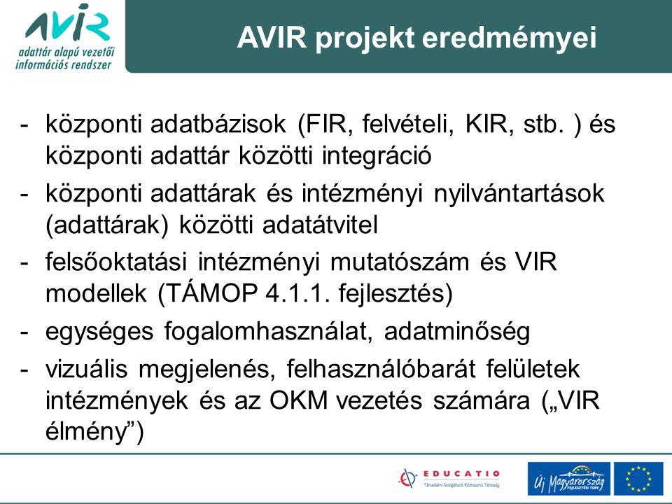 AVIR projekt eredmémyei