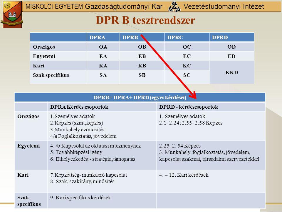 DPRB= DPRA+ DPRD (egyes kérdései)