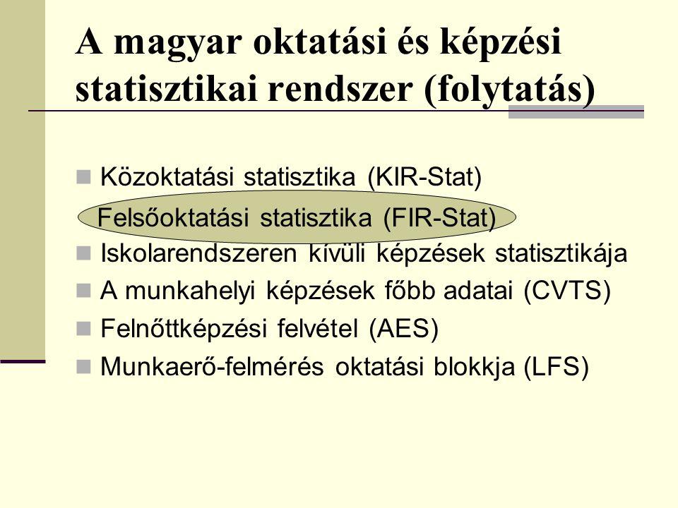A magyar oktatási és képzési statisztikai rendszer (folytatás)