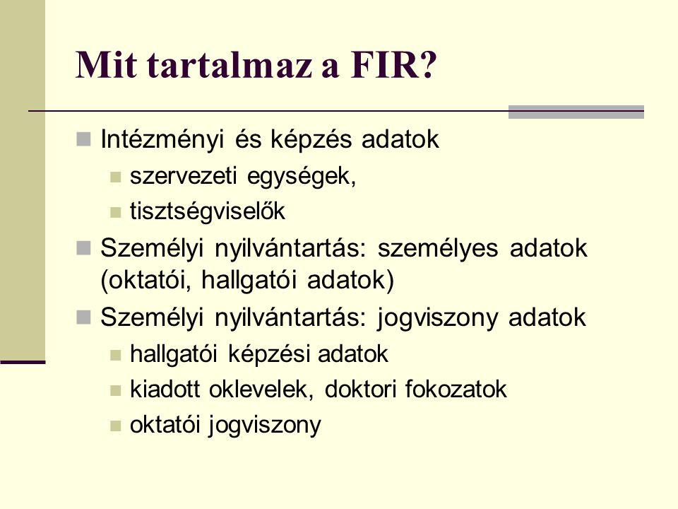 Mit tartalmaz a FIR Intézményi és képzés adatok