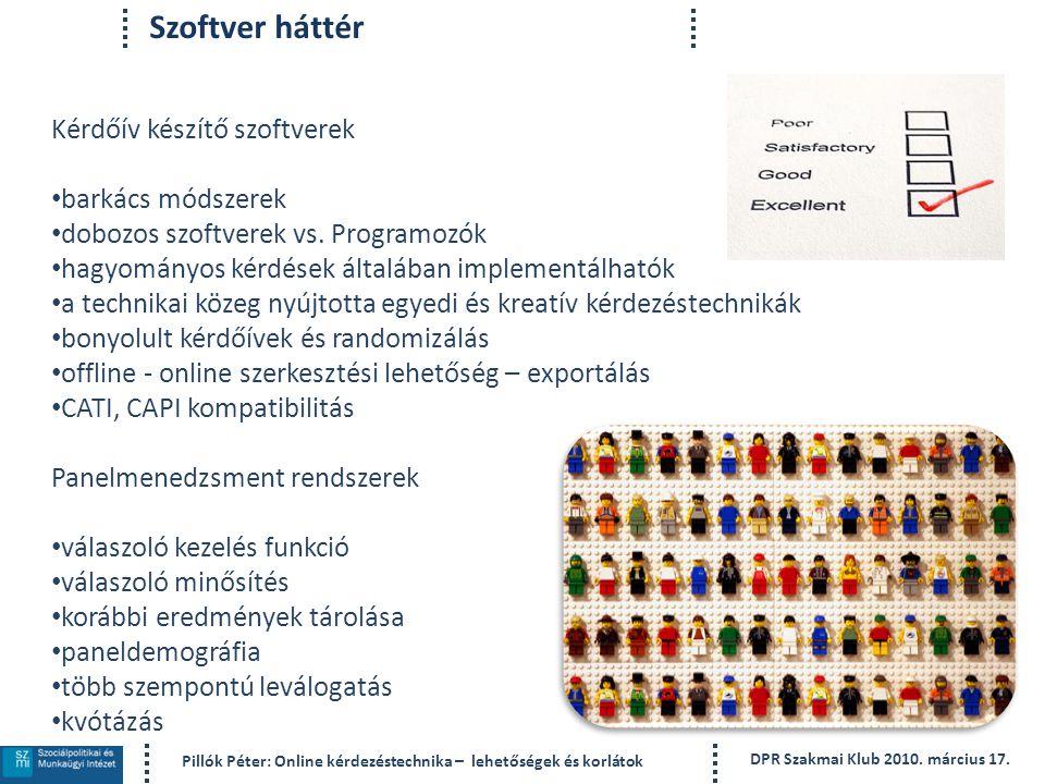 Szoftver háttér Kérdőív készítő szoftverek barkács módszerek