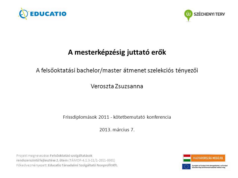 A mesterképzésig juttató erők A felsőoktatási bachelor/master átmenet szelekciós tényezői Veroszta Zsuzsanna Frissdiplomások 2011 - kötetbemutató konferencia 2013. március 7.
