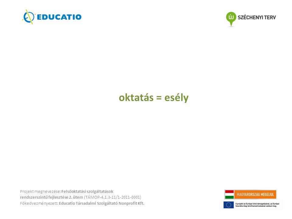 oktatás = esély Projekt megnevezése: Felsőoktatási szolgáltatások