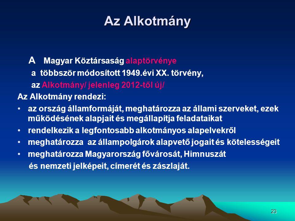 Az Alkotmány A Magyar Köztársaság alaptörvénye
