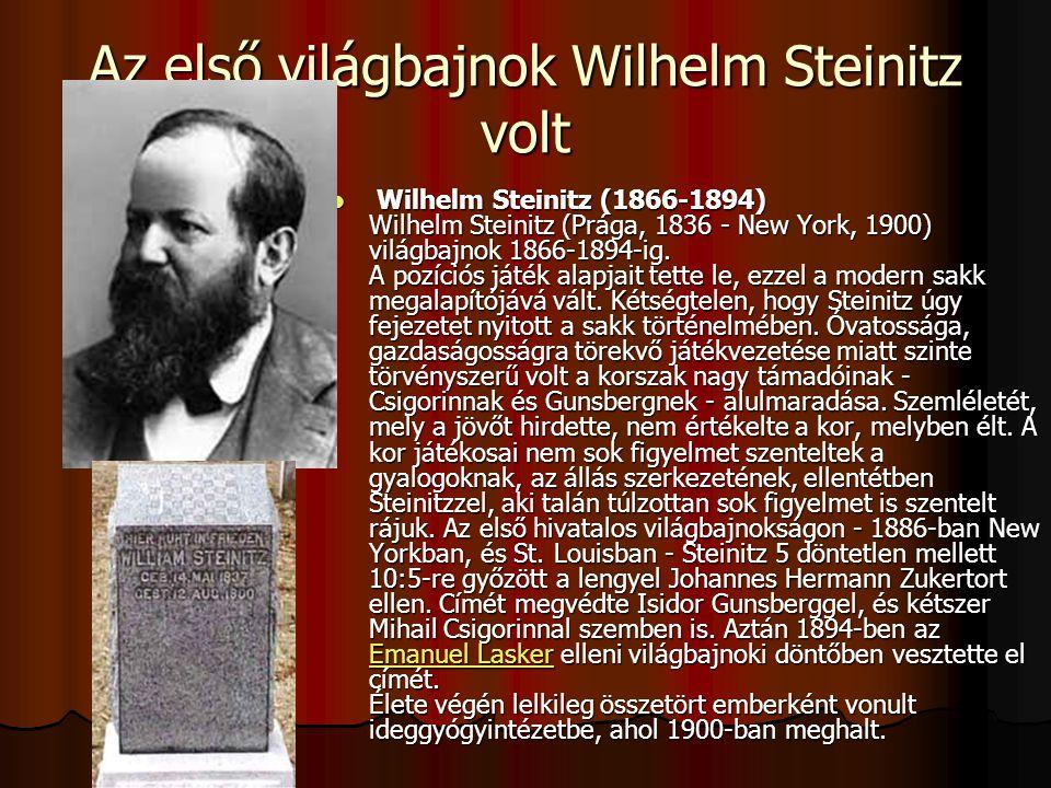 Az első világbajnok Wilhelm Steinitz volt