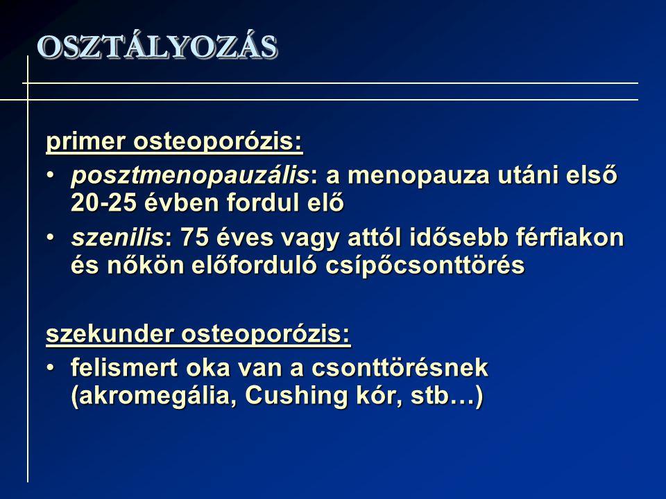 OSZTÁLYOZÁS primer osteoporózis: