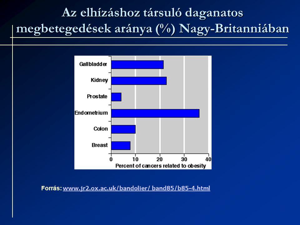 Az elhízáshoz társuló daganatos megbetegedések aránya (%) Nagy-Britanniában