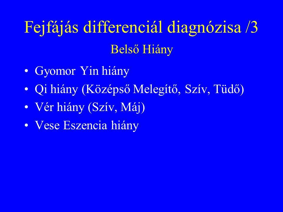 Fejfájás differenciál diagnózisa /3 Belső Hiány