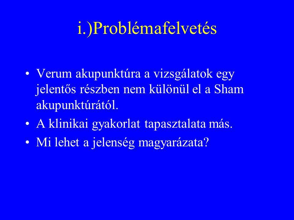 i.)Problémafelvetés Verum akupunktúra a vizsgálatok egy jelentős részben nem különül el a Sham akupunktúrától.