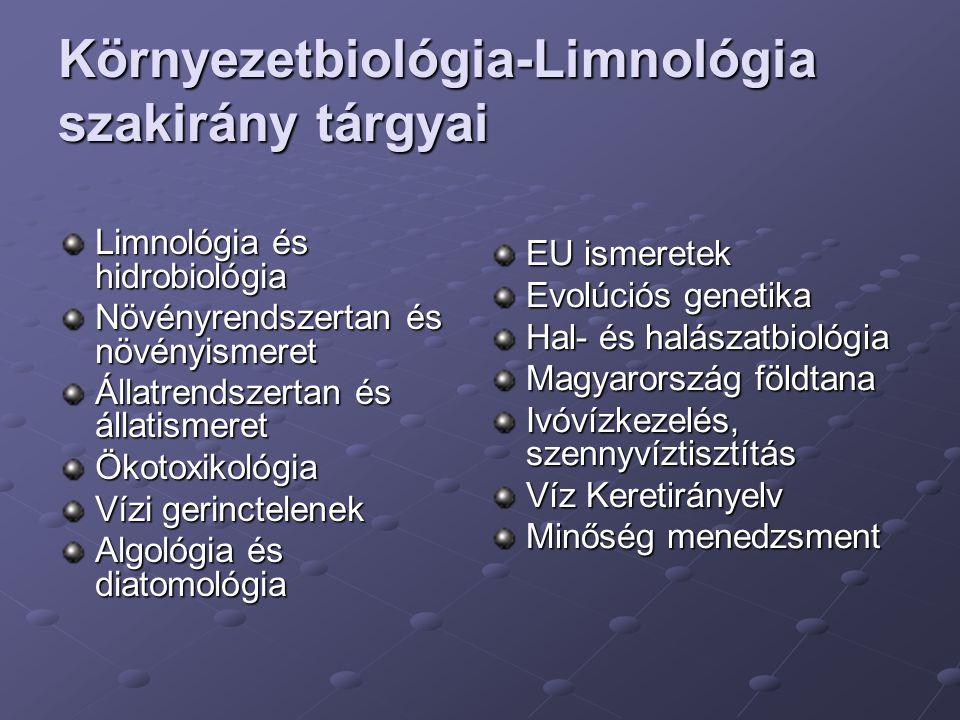Környezetbiológia-Limnológia szakirány tárgyai
