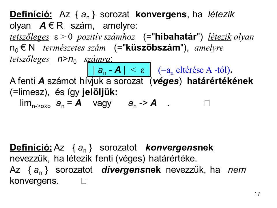 Definíció: Az { an } sorozat konvergens, ha létezik olyan A € R szám, amelyre: