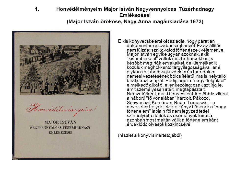 Honvédélményeim Major István Negyvennyolcas Tüzérhadnagy Emlékezései (Major István örököse, Nagy Anna magánkiadása 1973)