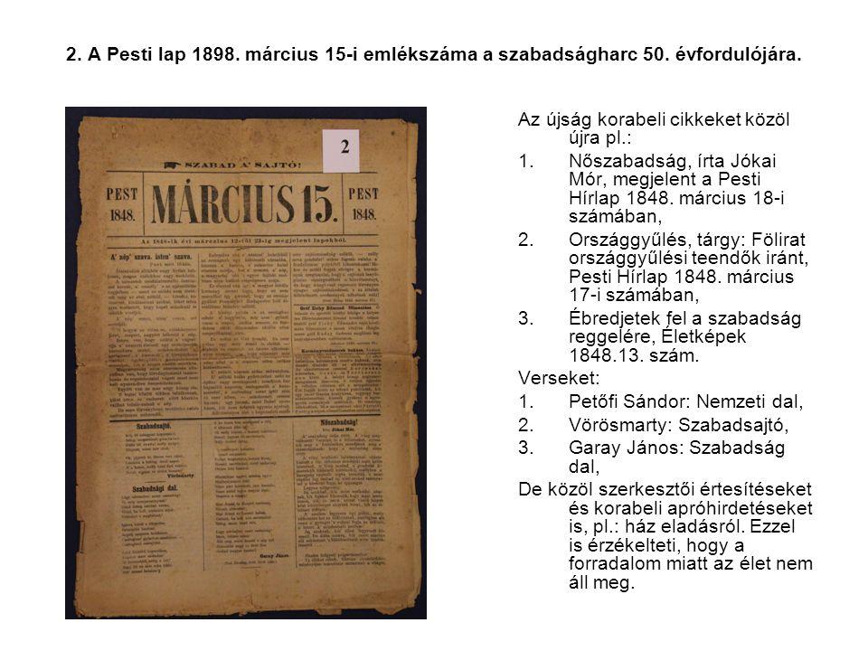 2. A Pesti lap 1898. március 15-i emlékszáma a szabadságharc 50