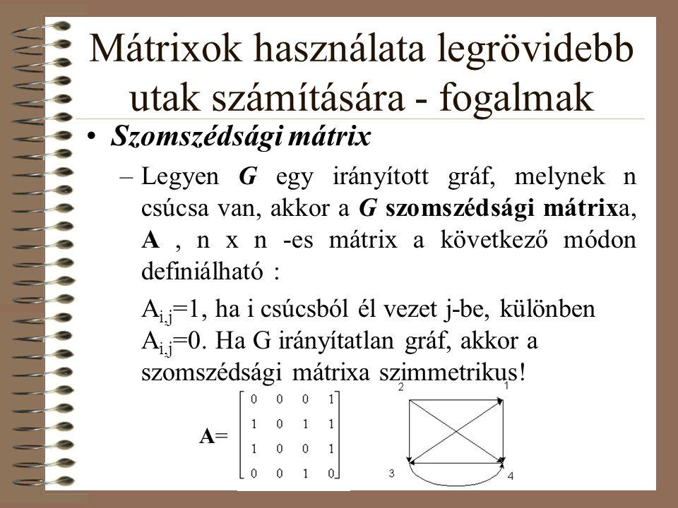 Mátrixok használata legrövidebb utak számítására - fogalmak