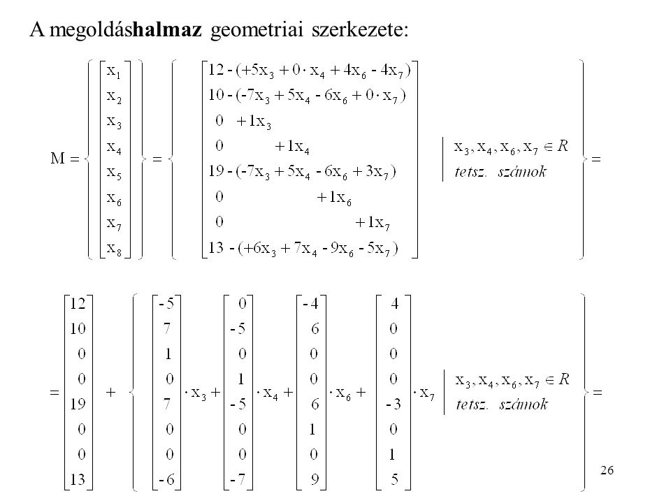 A megoldáshalmaz geometriai szerkezete: