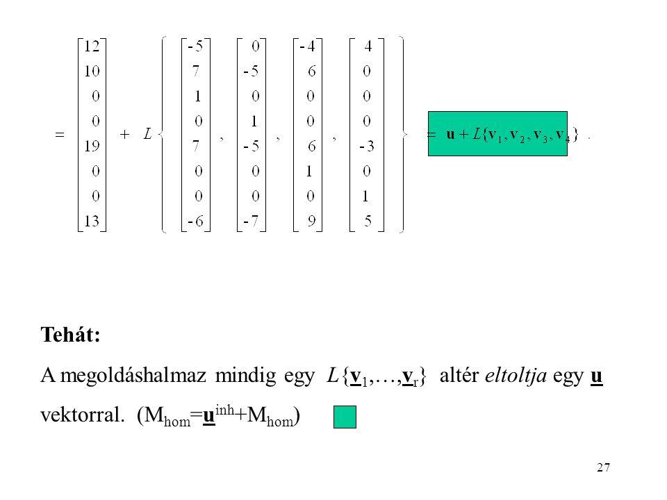 Tehát: A megoldáshalmaz mindig egy L{v1,…,vr} altér eltoltja egy u vektorral. (Mhom=uinh+Mhom)