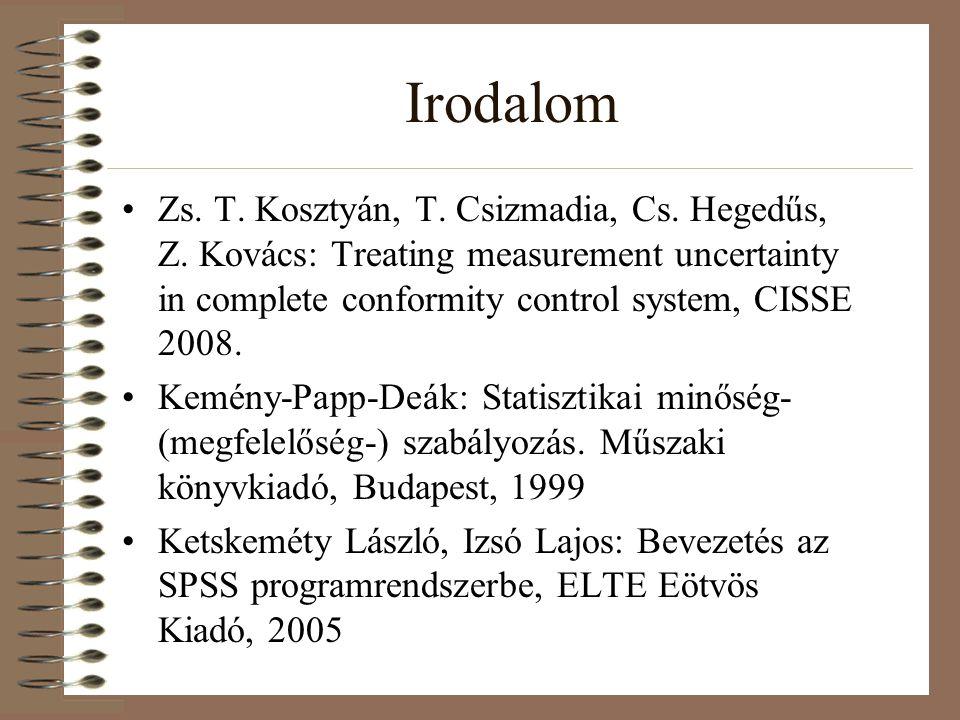 Irodalom Zs. T. Kosztyán, T. Csizmadia, Cs. Hegedűs, Z. Kovács: Treating measurement uncertainty in complete conformity control system, CISSE 2008.