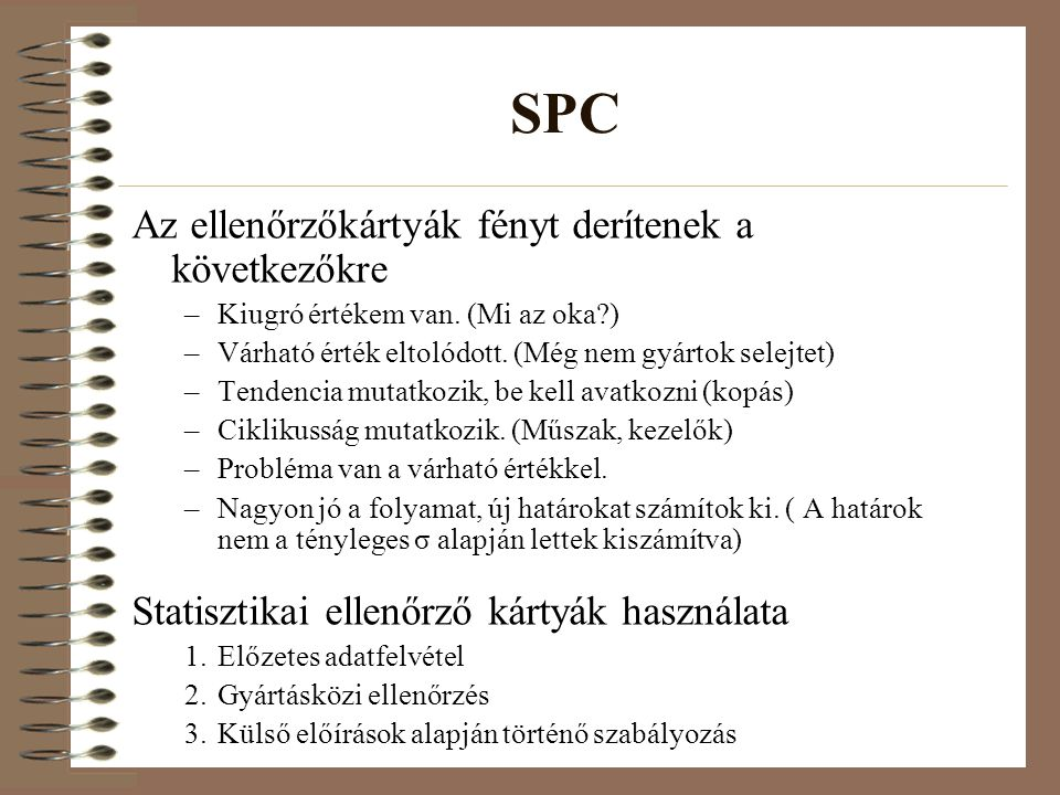 SPC Az ellenőrzőkártyák fényt derítenek a következőkre