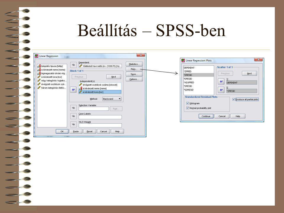 Beállítás – SPSS-ben