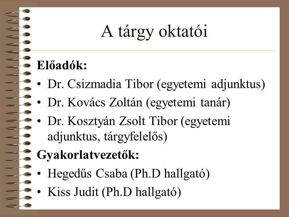 A tárgy oktatói Előadók: Dr. Csizmadia Tibor (egyetemi adjunktus)