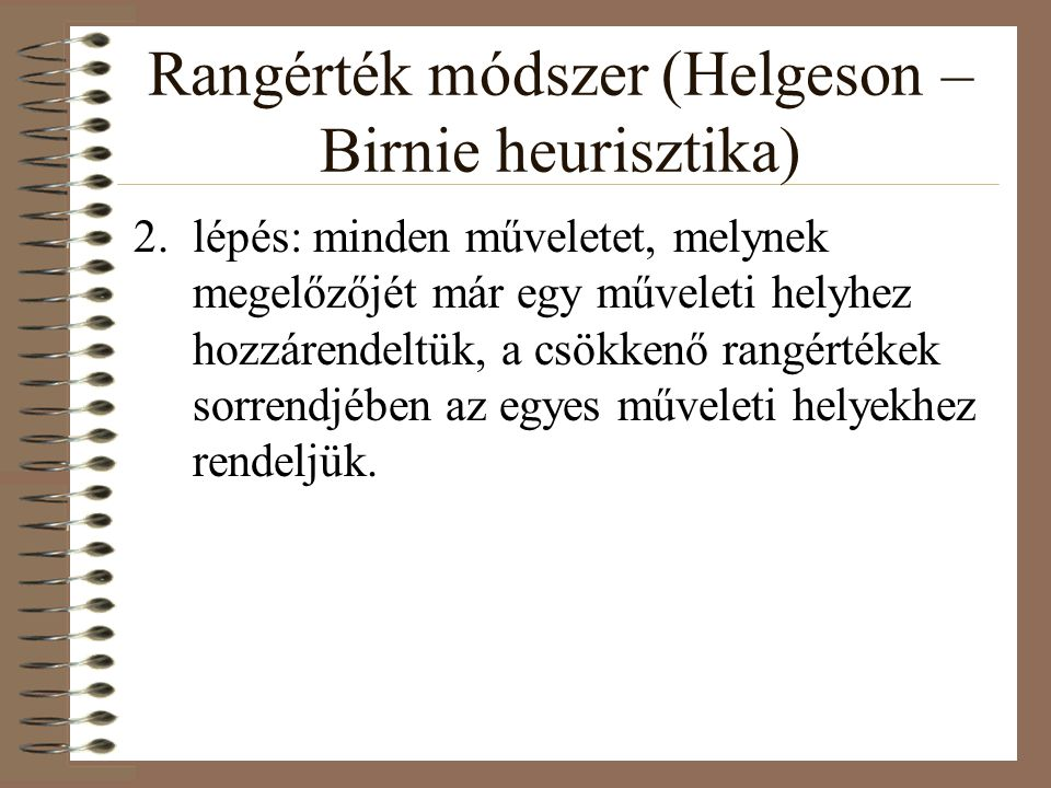 Rangérték módszer (Helgeson – Birnie heurisztika)