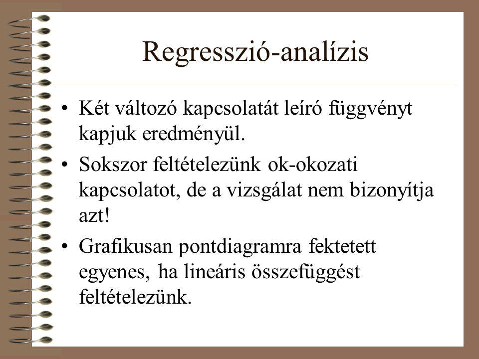 Regresszió-analízis Két változó kapcsolatát leíró függvényt kapjuk eredményül.