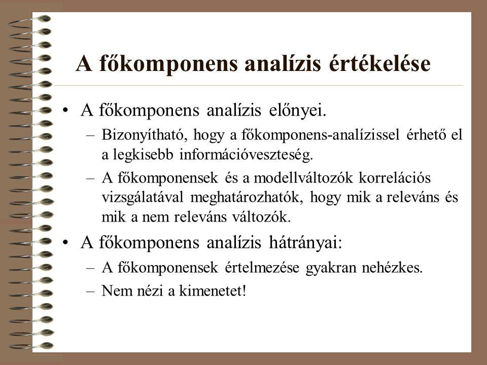 A főkomponens analízis értékelése