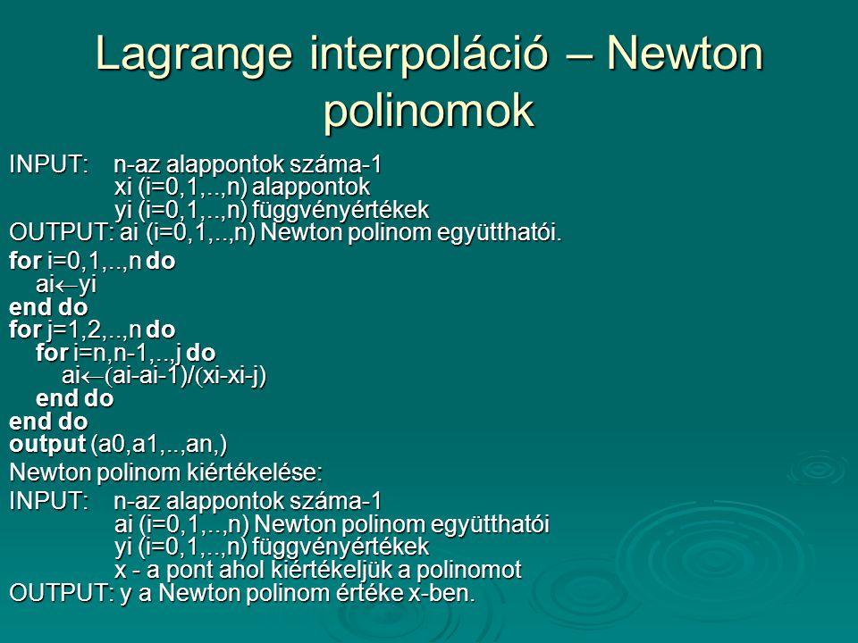 Lagrange interpoláció – Newton polinomok
