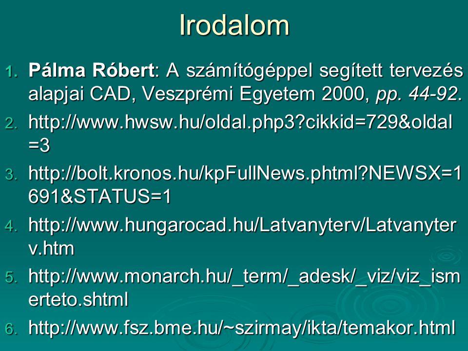 Irodalom Pálma Róbert: A számítógéppel segített tervezés alapjai CAD, Veszprémi Egyetem 2000, pp. 44-92.