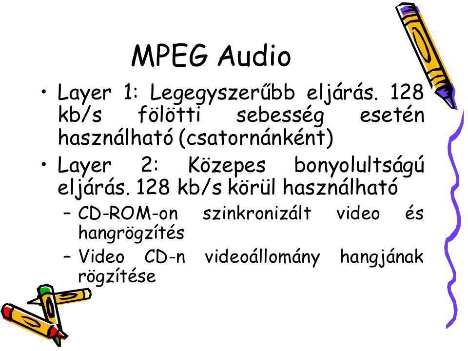 MPEG Audio Layer 1: Legegyszerűbb eljárás. 128 kb/s fölötti sebesség esetén használható (csatornánként)