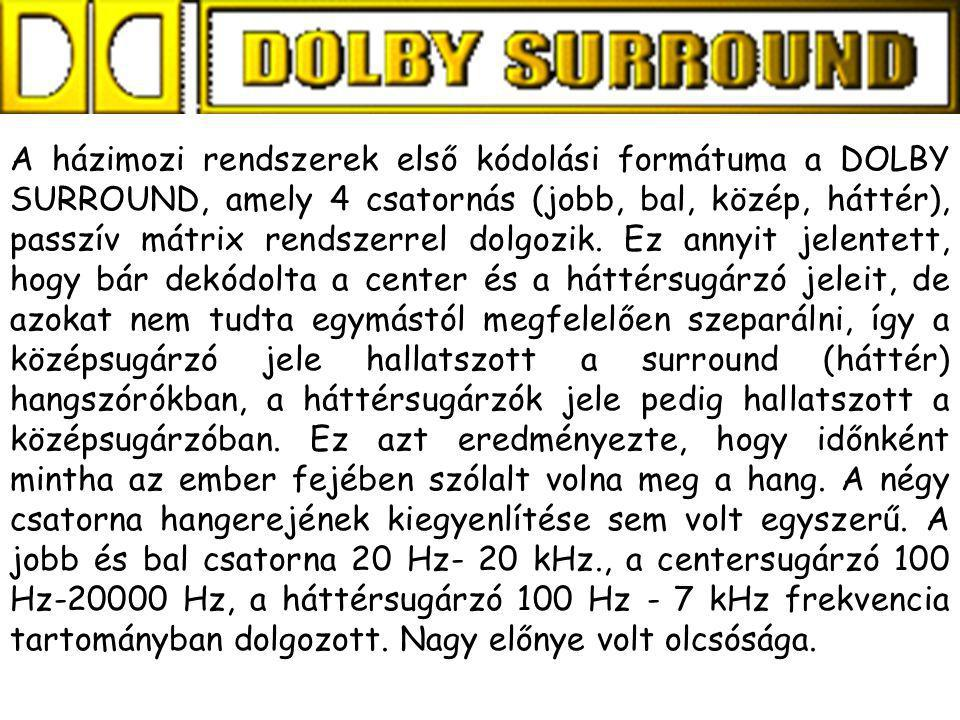 A házimozi rendszerek első kódolási formátuma a DOLBY SURROUND, amely 4 csatornás (jobb, bal, közép, háttér), passzív mátrix rendszerrel dolgozik.
